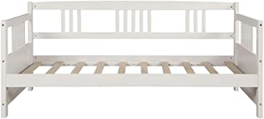 Wood Daybed Frame Twin Size with Rails, Wooden Slats Support Modern Daybed Twin (White Daybed)