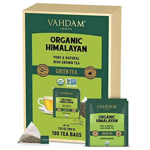 VAHDAM, Grüner Tee BIO Blätter Von Himalaya (100 Teebeutel), 100% natürliche Abnehm-, Entgiftungs-, Schlankheits-Tee, REICH AN ANTIOXIDANTEN - Grüntee Loses Blatt - Heiß oder eisgekühlt aufbrühen