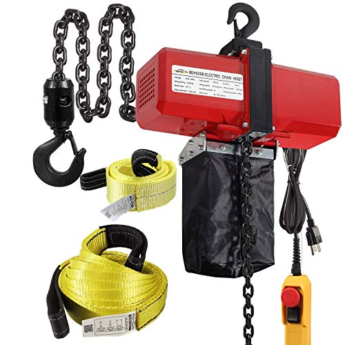 (Bundle Items) Partsam 1100lbs Lifting Electric Chain Hoist (1/2T 110V) Single Phase Overhead Crane Garage Ceiling Pulley Winch Bundled with Towing Strap 20Feet x 2inch