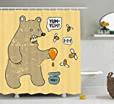 HiExotic Duschvorhang Whimsy Cartoon Shower Curtain Sets Cute Caricature Style Bear with Bees and Honey Saying Yum Yum Kids Comic Graphic,Non-Toxic Waterproof Decor,Extra Wide, Taupe Yellow,60X72In