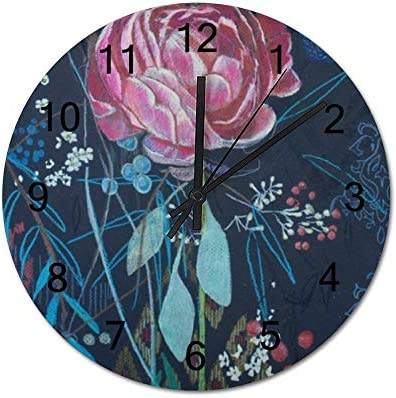 12 Housewarming Gift WandklokAquarel Roze Wildrose Illustratie OlieverfschilderijBatterij Operated Hangende KlokHouten Klok voor Woonkamer Thuis Decoratieve