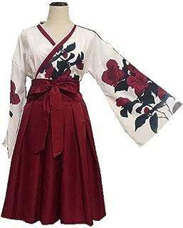 矢羽柄 和式 プリント 改良 着物 和服 上下セット 日本式 ふわふわな彼女 羽織 上着 アンド プリーツスカート 浴衣 (ミニーS, レット)