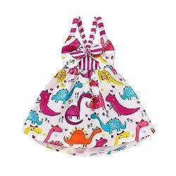 5. YOUNGER TREE Toddler Dinosaur Print Sleeveless Strap Backless Dress