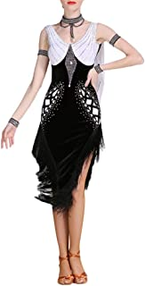 Monkibag Women Dance Dress, Women Diamond Professional Latin Dance Dress Tassel Backless Ballroom Dancewear Tango Salsa Rumba Samba Rhythm Costume Performance Competition Dress,Latin Dance Dress