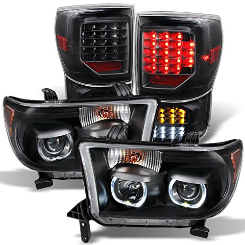 For GAZE Toyota Tundra Black SMD LED Halo Projector Headlights Pair + Black LED Tail Lights Combo Set