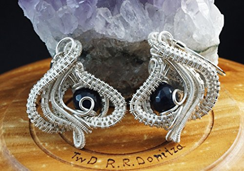 Arabic Nights / silver plated copper wire earrings with Sapphire / ( Nicole Hanna designed ) / wire wrapped /
