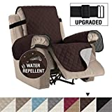 Reversible Recliner Cover Recliner Slipcover Recliner Furniture Protector 2' Elastic Strap Slip Resistant Water Repellent Slipcover Seat Width Up to 22'(Recliner 79'L x 68'W, Brown/Beige)