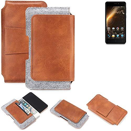 K-S-Trade® Schutz Hülle Für Allview P9 Energy Mini Gürteltasche Gürtel Tasche Schutzhülle Handy Smartphone Tasche Handyhülle PU + Filz, Braun (1x)