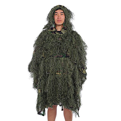 Camouflage Umhang Jungle Poncho Ghillie Suit Set Woodland Sniper Vogelbeobachtung Poncho Yowie Kleidung, Army Green Camouflage