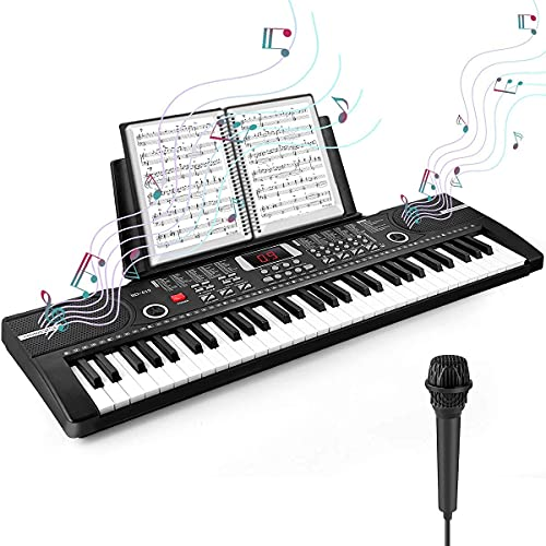 Camide 61 Keys Keyboard Piano, Electronic Digital Piano with Built-In Speaker Microphone, Sheet Stand and Power Supply, Portable Keyboard Gift Teaching for Beginners