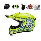 Smotly Motorradhelm,Farbe/Cartoon - Abnehmbares Futter, Motorrad-Crosshelm Offroad-Helm...