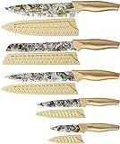 Juego de Cuchillos, Juego de Cuchillos de Cocina de 5 piezas con Revestimiento Antiadherente con 5 fundas para Cuchillos, Diseño de Constelación