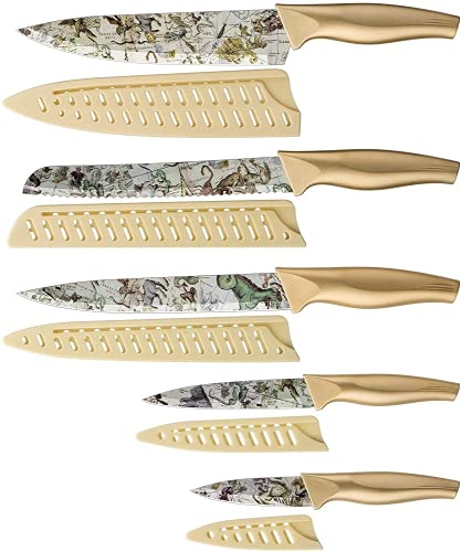 Ensemble de Couteaux, Ensemble de Couteaux de Cuisine de 5 pièces avec Revêtement Antiadhésif avec 5 Couvercles de Gaine de Couteau, Conception Constellation, Non applicable à lave-vaisselle