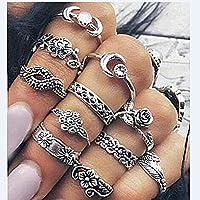 Bigboba 9 Stück Ringe mit Blumen, Retrostil, Knöchelringe, aus Legierung, mit Strass, Silber, Set für Damen 1.4-1.7cm Style-14