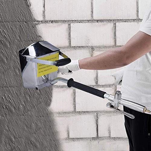 Kacsoo Rociador de pared de 4 chorros, pistola de pulverización de mortero de cemento, pistola de tolva de pulverizador de estuco, pistola de pulverización de cemento de hormigón para pintar