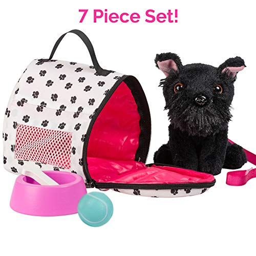 """Adora Amazing Pets """"Sadie the Black Schnauzer"""" – 18"""" Doll Accessory includes 4.5' Dog, Dog Carrier, Collar, Leash, Ball, Wooden Bowl and Bone (Amazon Exclusive) 218881"""