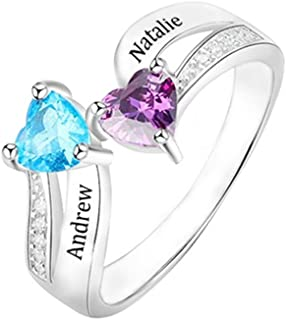 Shiny Alice Personalized Promise Rings for Her Princess Engagement Rings for Women Couples Simulate Birthstone Rings