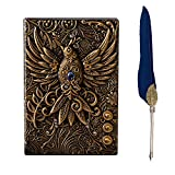 Phoenix Journal,3D Embossed Notebook,Travel Diary Book, journals for writing women,A5 Lined Journal,200 Pages,With Vintage Feather Pen,Gift For Writers And Travelers, Men Or Women