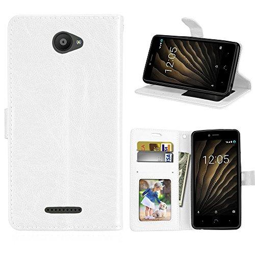 DIKAS Hülle für BQ Aquaris U/U Lite, Flip PU Leder Brieftasche Hülle, Ständer & Karte Slot Handytasche Leder Schale für BQ Aquaris U/U Lite (5.0