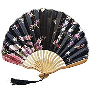 FSJIANGYUE Summer Vintage Lace Silk Bamboo Folding Hand Held Flower Fan Chinese Dance Party Pocket Gifts Wedding Colorful Folding Fan (Color : D)