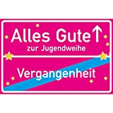 vanva Alles Gute zur Jugendweihe Ortsschild Jugendweihe Deko Schild 30x20 cm Geschenke Zur Jugendweihe Glückwunschkarte Jugendweihe Pink