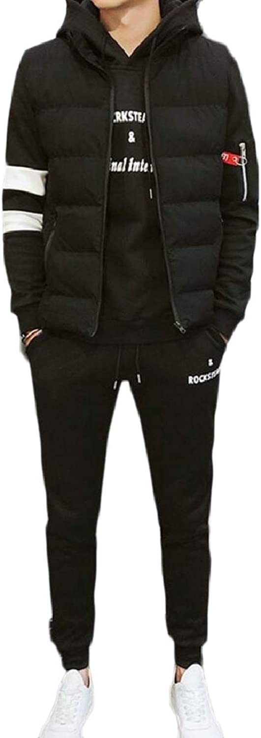 Xswsy XGCA Men's Long Sleeve Athletic Hoodie 3 Pieces Tracksuit Set with Down Vest