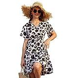 XYHH Vestido Estampado de Lunares para Mujer Vestido Informal de Fiesta de Playa Suelta con Cuello en V Profundo de verano-White-3XL