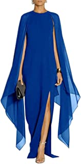 Women's Elegant High Split Flare Sleeve Formal Evening Gowns Maxi Dress with Cape
