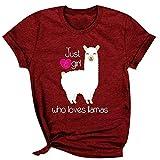Camiseta de manga corta para mujer con texto en inglés 'Just a Girl Who Loves Llamas'