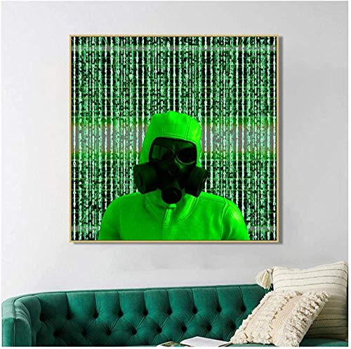 NC88 Estilo Industrial Color Fluorescente Pintura GAZ Lienzo Verde Póster e Impresiones Imagen de Arte de Pared Decoración de Dormitorio -50x70cm Sin Marco