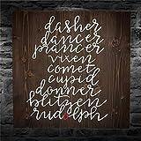 BYRON HOYLE Dasher Dancer Prancer - Cartel de madera para colgar en la pared, diseño de granja inspirador, decoración rústica para sala de estar, guardería, dormitorio, porche, pared de galería