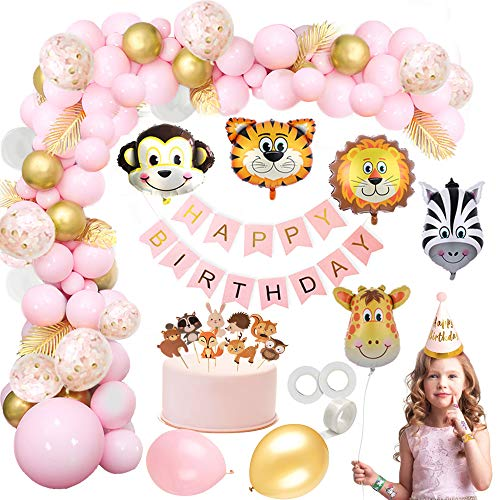 MMTX Jungle Décorations Anniversaire Fille Enfant-Bannière Joyeux Anniversaire avec Feuilles de Palmier, Latex Ballons Arche et Safari Forest Animaux Ballon pour Anniversaire bébé Douche décor