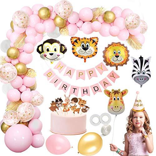 MMTX Selva Fiesta de cumpleaños decoracion Niñas-Feliz cumpleaños feliz con Globos de latex Hojas de Palma y Safari Bosque Animal arco de globos para Baby Shower Decoración, Cumpleaños 1 2 3 año