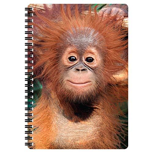 3D LiveLife Libreta A5 - Bebé Orangután de Deluxebase. 80 páginas de bloc de notas lenticular 3D de orangutanes e ilustraciones con licencia del reconocido artista Michael Searle