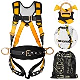 Happybuy Construction Safety Harness Fall Protection Full Body Safety Harness with 3 D-Rings,Belt and Additional Padding