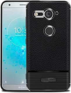 Sony Xperia XZ2 Compact Case, Cruzerlite Flexible Slim Case with Leather Texture Grip and Shock Absorption for Sony Xperia XZ2 Compact (2018) (Black)