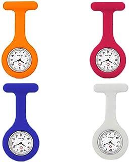 Relojes de Enfermera, 4 Piezas Broche de Reloj de Enfermera, Reloj de Enfermera de Silicona, Reloj Médico con Broche, Relo...