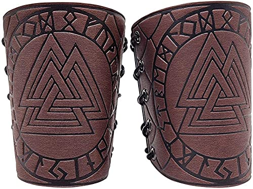 YFGlgy Viking Odin Rune Garéna Cuir Gaced Cuir Brassards Cuissards Médiéval Armure Cuff Bandage Punk Bracelet Gauntlet Brassards Hommes Femmes Garçon
