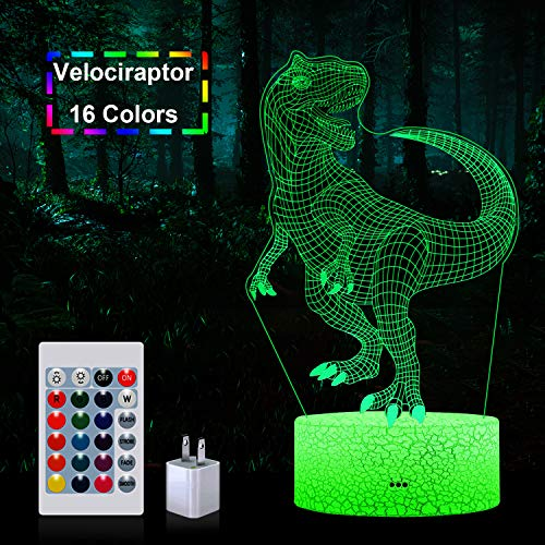 LED Dinosaur Night Light, Woffice 3D Illusion Touch &Remote Control Desk Lamp with Outlet Adapter, 16 Colors and 3 Color Change Modes, Best Birthday Christmas Gifts Toys for Kids Boys Girls