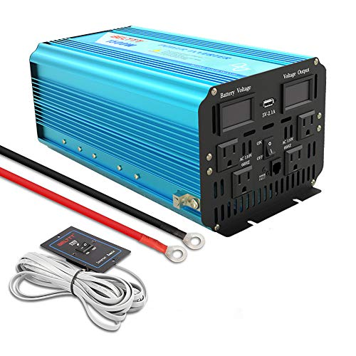 BELTTT 1500W Pure Sine Wave Power Inverter 12V DC to 110 V AC with 4 AC Outlets and LCD Display,1 USB Charging Port, Remote Switch (3000W Peak)