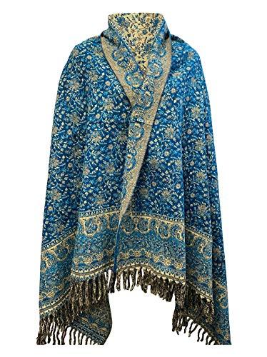 Schal aus reiner Yak-Wolle, handgefertigt, mit floralem Blättermuster, Blau / Beige