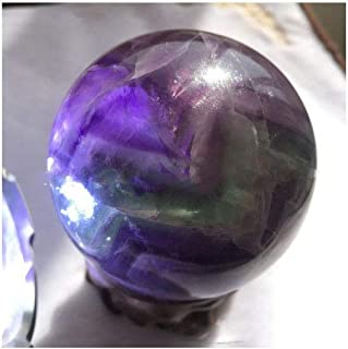 Natural Colored Fluorite Healing Quartz Crystal Sphere Gemstone Ball with Stand, Natural Sculpture Figurine (7# Rainbow Fluorite 5cm/1.96 inch)
