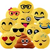 Set of 4 Emoji Pillows 12.5 Inch Large Yellow Smiley Emoticon - Random