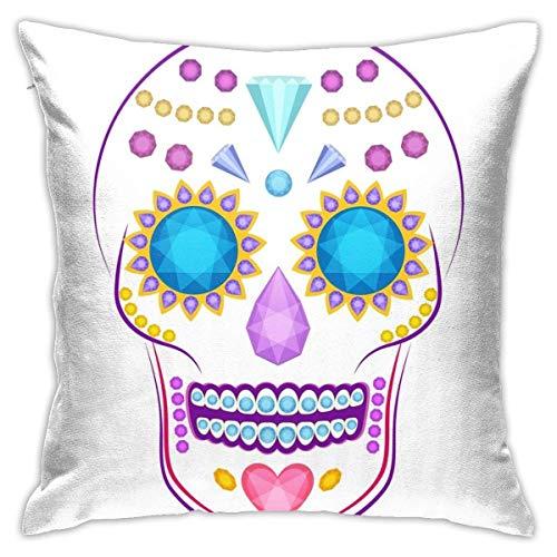 Lsjuee Throw Pillow Cover Cartoon Vector Skull Decorado Colorido Precioso Cojín Decorativo Funda Throw Pillow Fundas Protectores 45x45 cm
