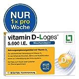 vitamin D-Loges Tabletten Nahrungsergänzung – 60 Gel Tabs, 5.600 I.E, Wochendepot, für die ganze Familie, hochdosiert