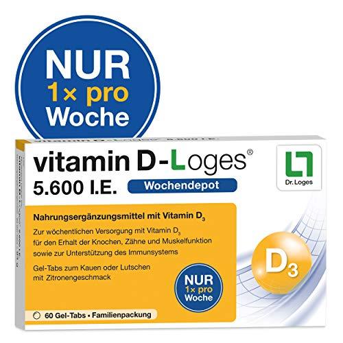 vitamin D-Loges® Tabletten Nahrungsergänzung – 60 Gel Tabs, 5.600 I.E, Wochendepot, für die ganze Familie, hochdosiert