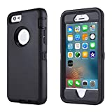 GreatCase Compatible with iPhone 6, Compatible with iPhone 6S, Shockproof Heavy Duty Built-in Screen Protector Dueable 3 in 1 Cover Drop-Proof Scratch-Resistant Protective Cases 4.7 inch Black