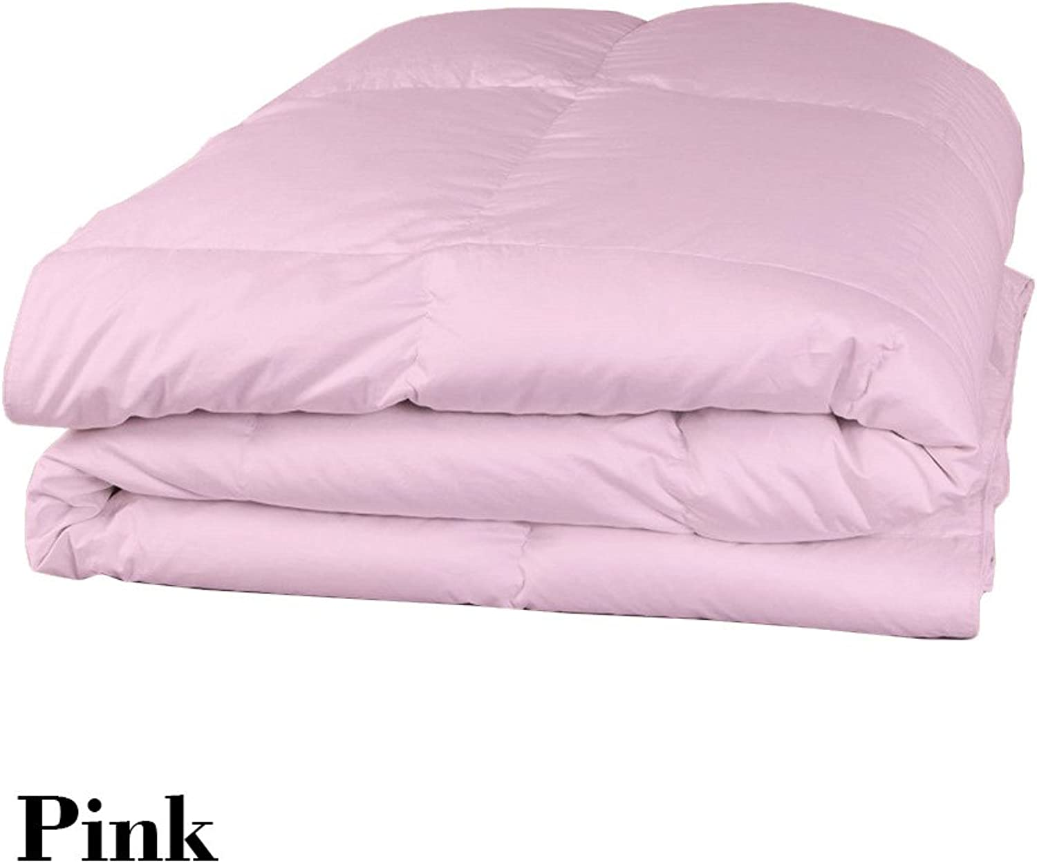 Dreamz Parure de lit Super Doux 550Fils 100% Coton 1Housse de Couette (100g m2 Fibre Fill) Single Long, Rose Solide Coton égypcravaten 550tc Doudou