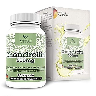 VITA1 Chondroitin 500mg • 90 Kapseln (6 Wochen Vorrat) • Glutenfrei • Hergestellt in Deutschland