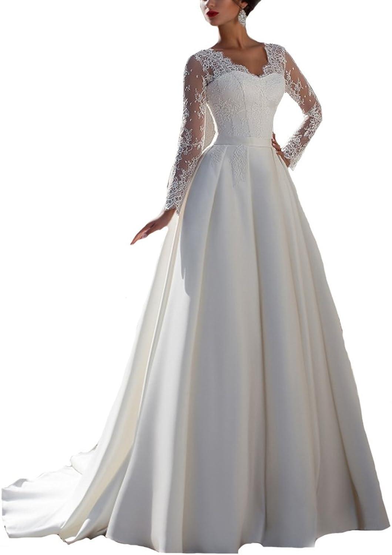 Beauty Bridal Lace Satin V Neck Long Sleeves Wedding Dresses